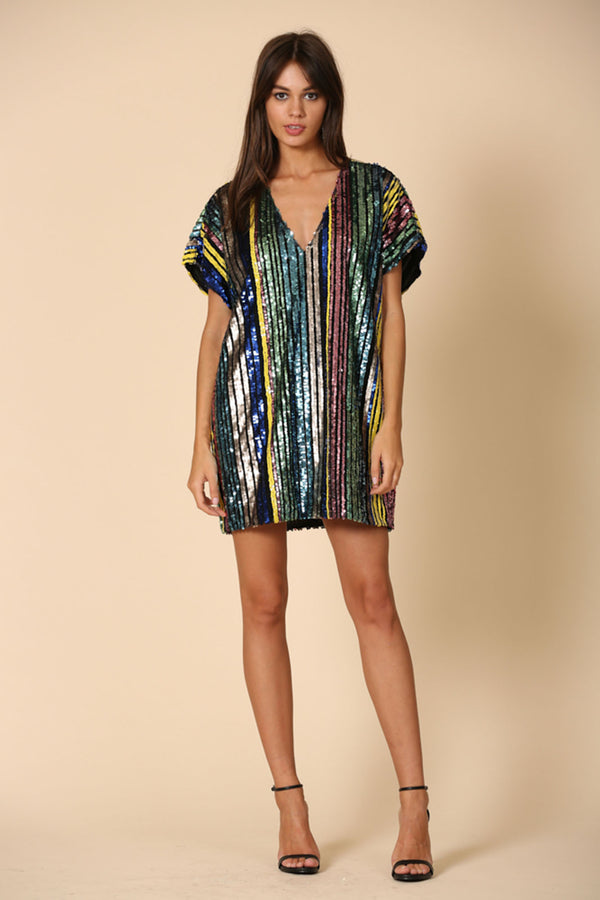 Sequin Stripe Tunic Dress