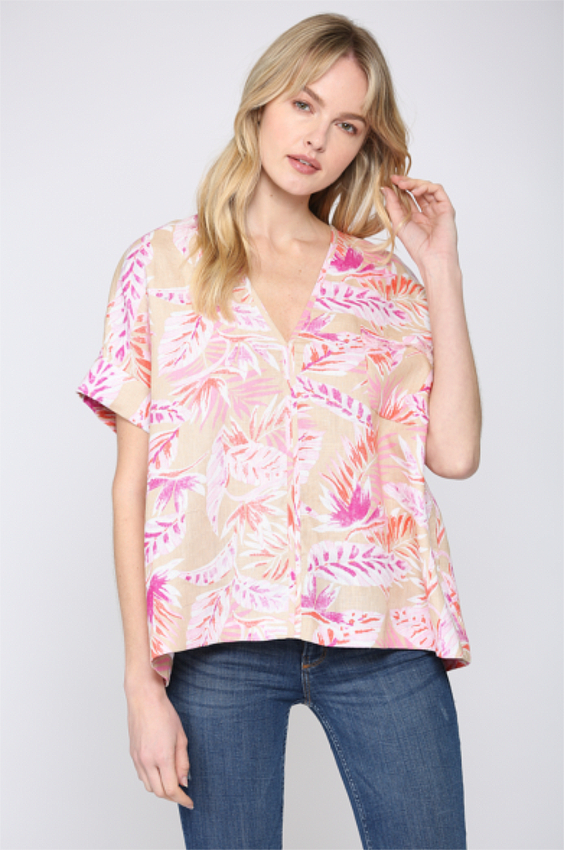 Tropical Print V-Neck Linen Top