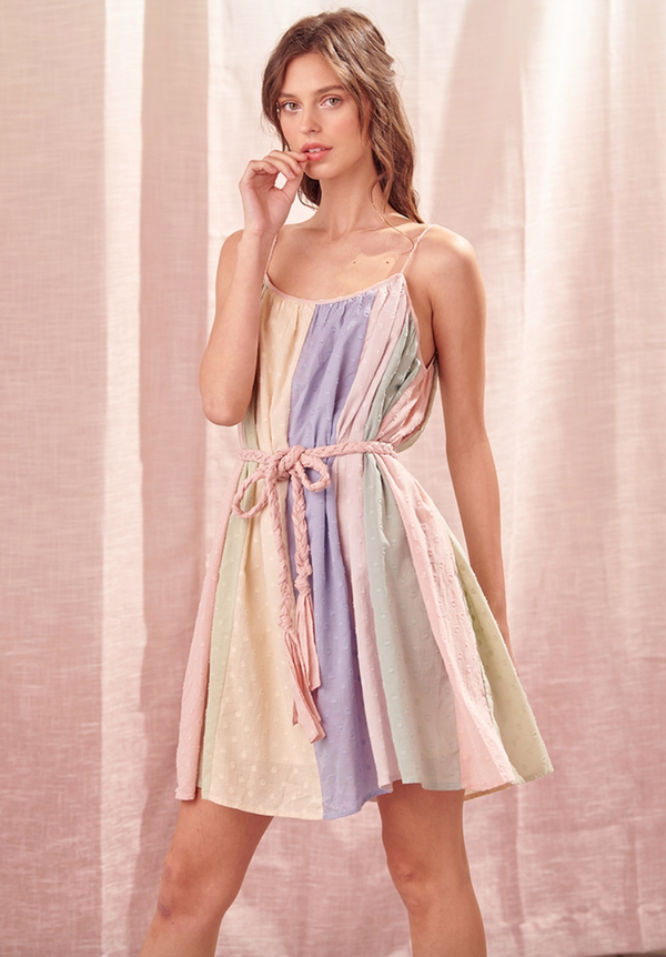 Pastel Color Block Tie Dress