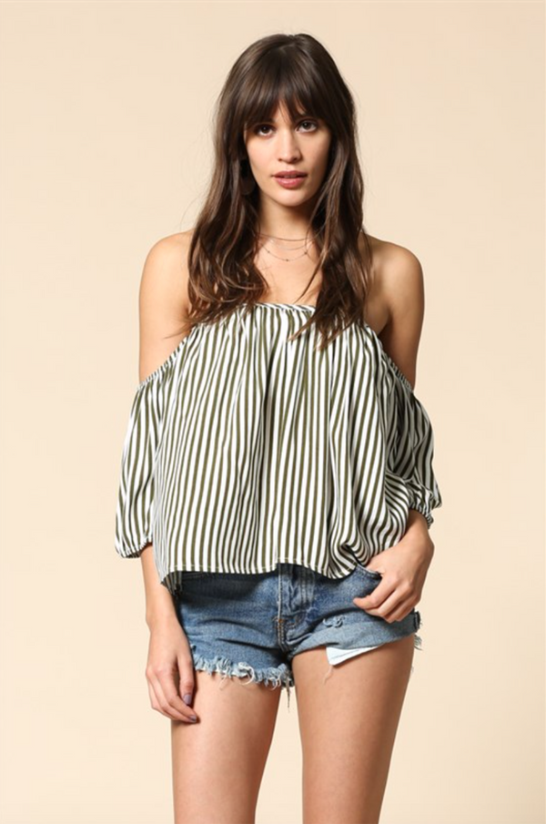 Striped Off the Shoulder Top