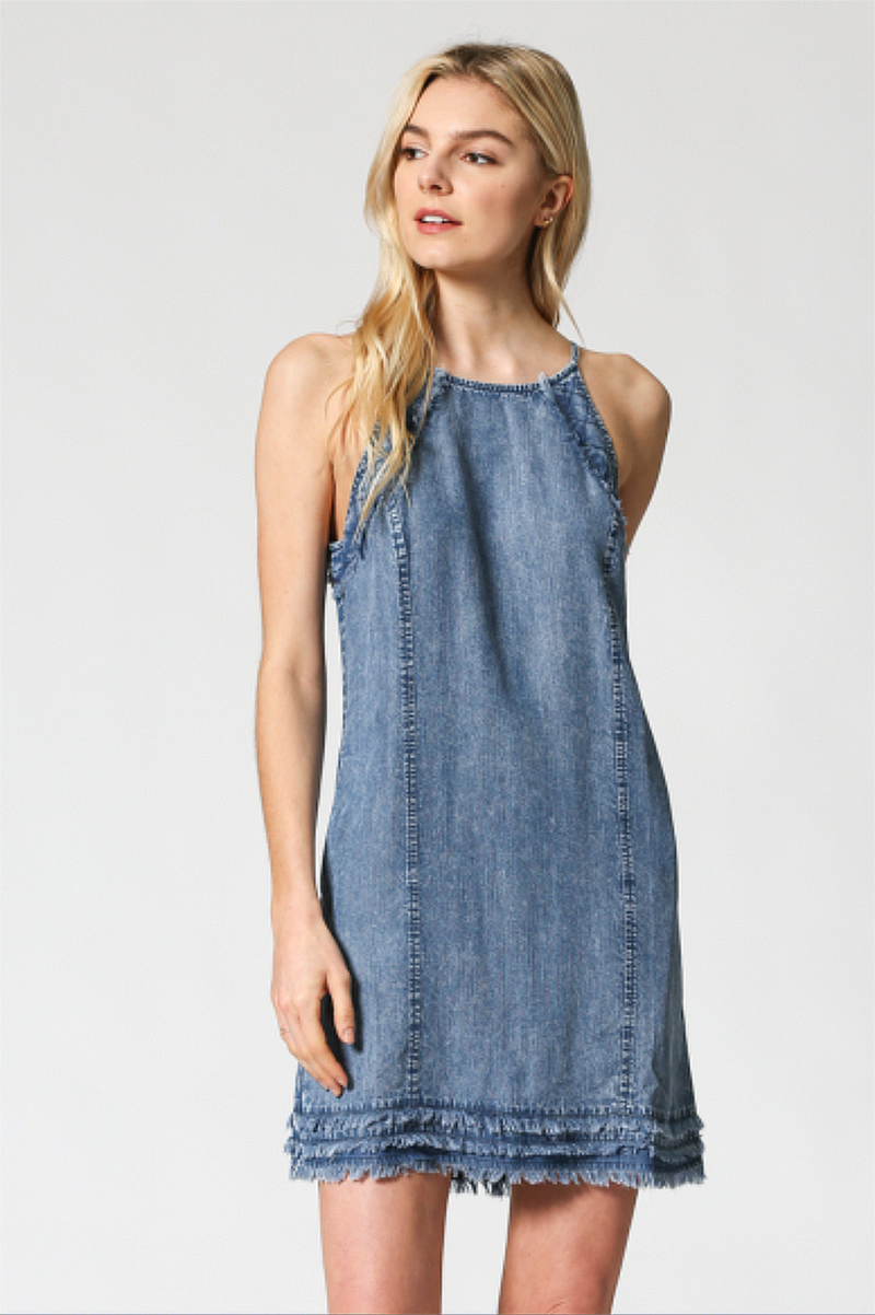 Chambray Fringe Pocket Shift Dress