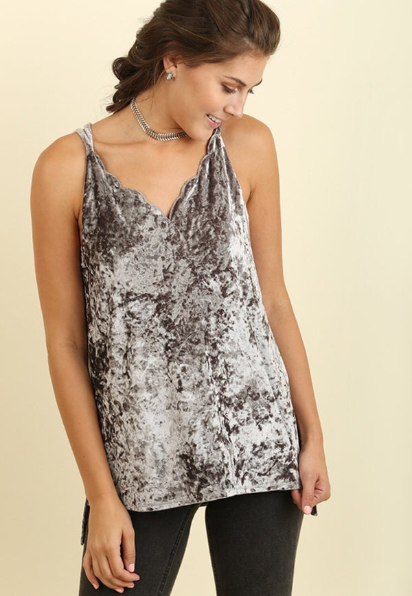 Scalloped Velvet Cami with High Low Hem