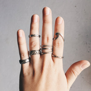 Stacker Ring Set - Twist & Hammered - Size 8.5 and 9