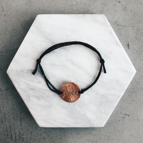 The Original Cheap Luck | Black String Lucky Penny Bracelet