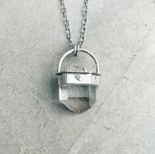 Load image into Gallery viewer, Silver Neowise Comet Pendant | Rutilated & Tibetan Quartz