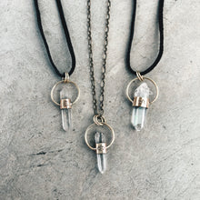 Load image into Gallery viewer, Leo Quartz Point Talisman - handcrafted brass and quartz necklace.