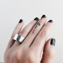 Load image into Gallery viewer, Silver Flat Crescent Dome Signet Ring | Handcrafted Size 6.5
