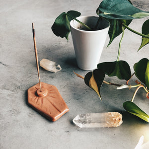 Coffin shaped ceramic incense holder