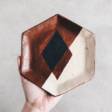 Load image into Gallery viewer, Geometric Hexagon Ceramic Dish - Terra Cotta and Ivory