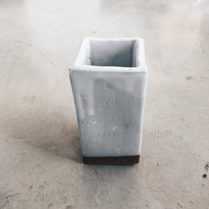 Modern Square Terra Cotta and White Ceramic Vase
