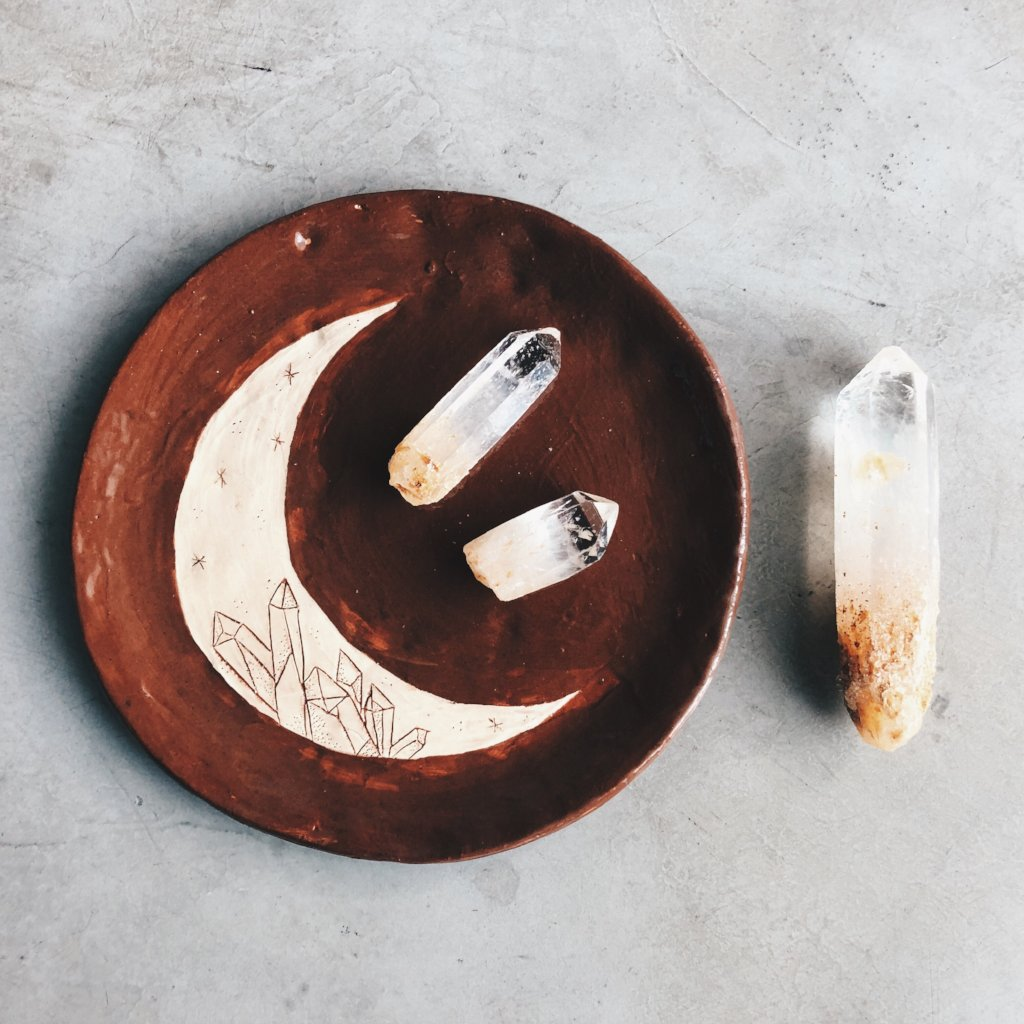 Crescent Moon and Crystal - ceramic dish