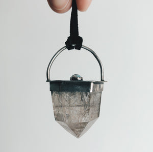 Orbiting Moons Pendant - Silver, large Rutilated Quartz, labradorite, opals.