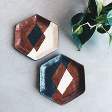 Load image into Gallery viewer, Geometric Hexagon Ceramic Dish - Black and Terra Cotta