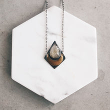 Load image into Gallery viewer, Golden Moon Goddess Pendant - Rutilated Quartz, Silver, and Brass Necklace