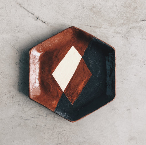 Geometric Hexagon Ceramic Dish - Black and Terra Cotta