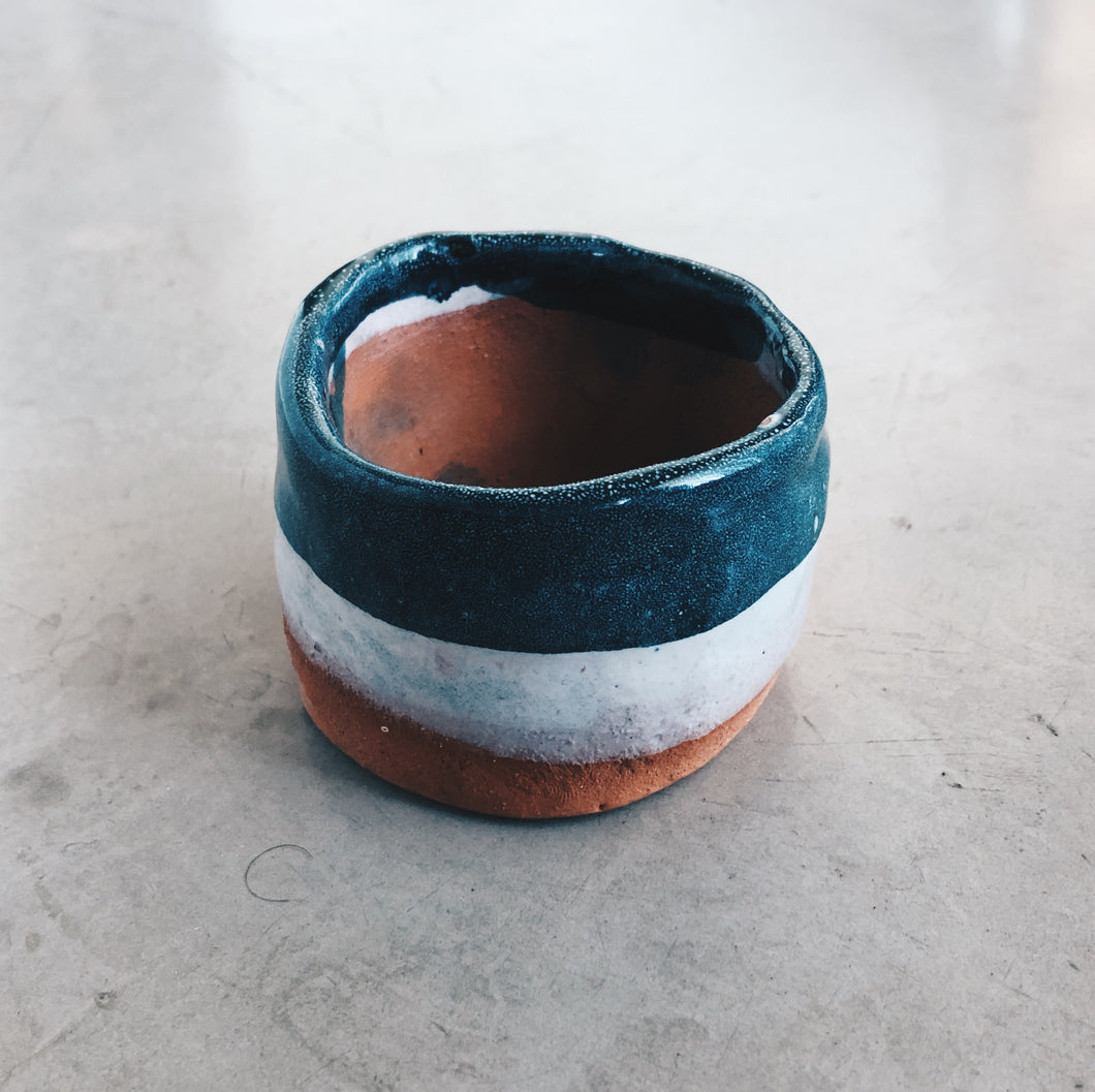 Modern Terra Cotta, Blue and White - Small Ceramic Planter