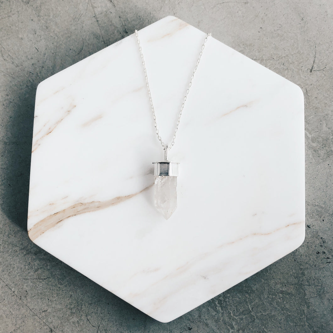 Small Raw Tibetan Quartz and Silver Necklace