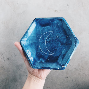 Ceramic Hexagon Crescent Moon Dish