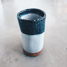 Load image into Gallery viewer, Modern Cylindrical Terra Cotta, Blue and White Ceramic Vase