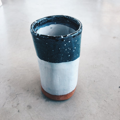 Modern Cylindrical Terra Cotta, Blue and White Ceramic Vase