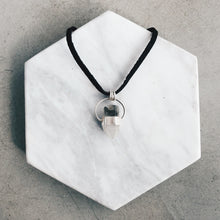 Load image into Gallery viewer, Small Raw Tibetan Quartz and Silver Halo Necklace