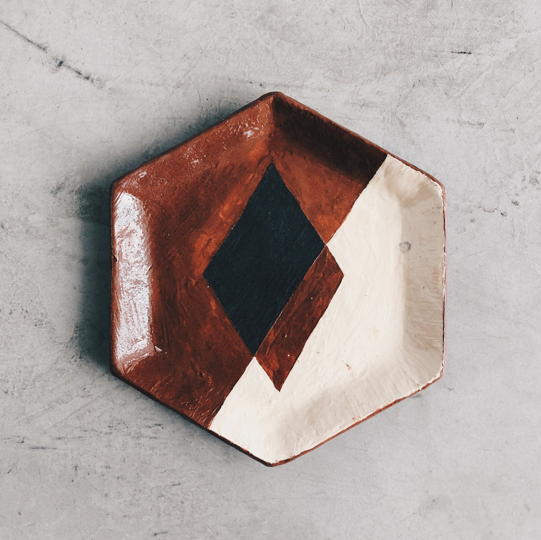 Geometric Hexagon Ceramic Dish - Terra Cotta and Ivory