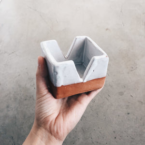 Modern Square with V-cut Terra Cotta and White Ceramic Box