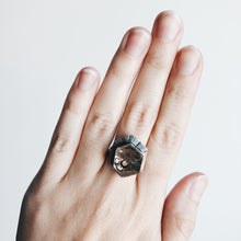 Load image into Gallery viewer, Smoky Quartz Moon Window - Hexagon Ring - SIZE 5.25