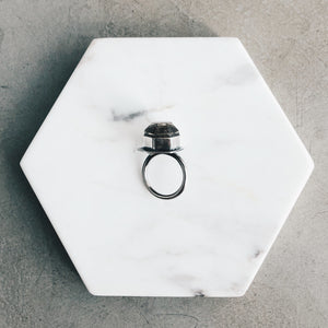 Smoky Quartz Moon Window - Hexagon Ring - SIZE 5.25