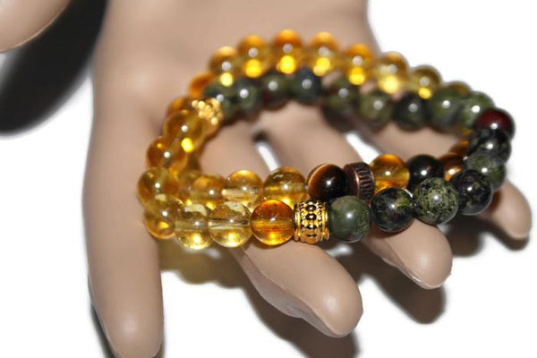 Men's Bloodstone-Tiger Eye-Citrine Beaded Bracelet Set - Zendelux Rose