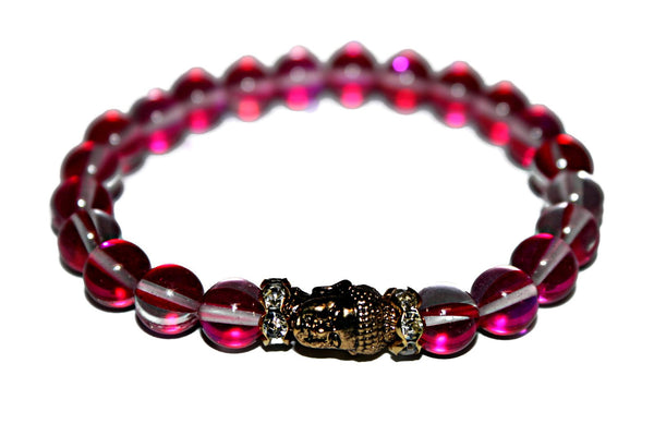 Women's Rose Aura Quartz Bracelet | Gold Buddha Bracelet | Healing Crystal Bracelet for Women