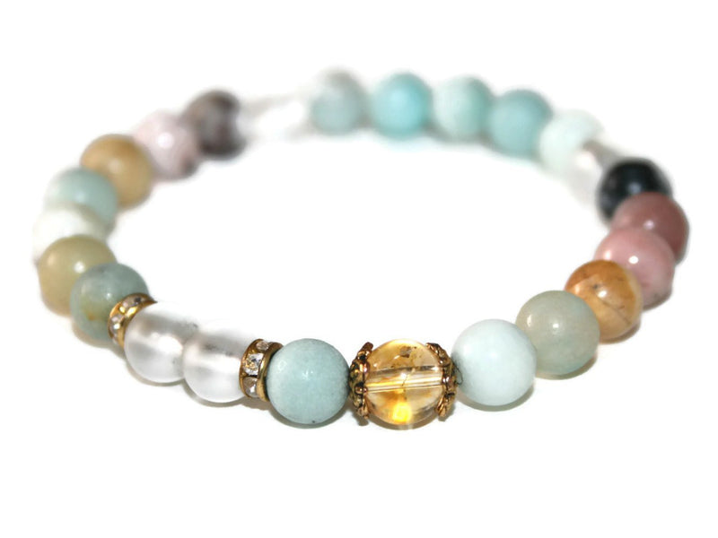 Women's Amazonite Mint-Citrine Beaded Bracelet | Bracelets for Women | Boho Jewelry - Zendelux Rose