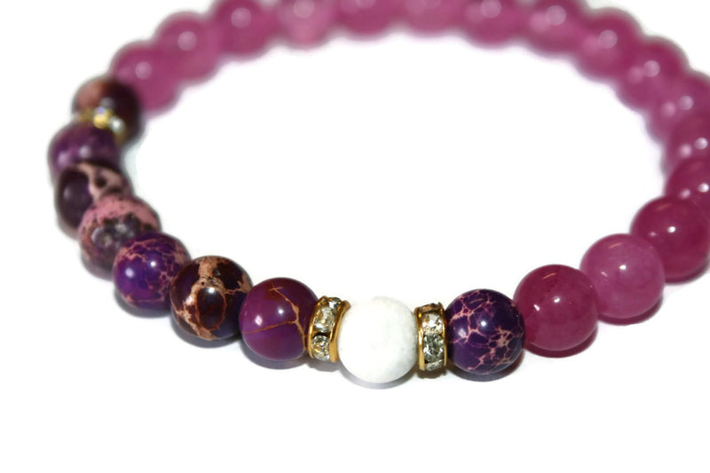 Women's Pink Jade-Purple Sediment Jasper Beaded Bracelet | Healing Crystals | Stretch Bracelet - Zendelux Rose