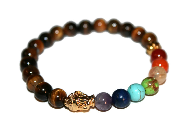 7 Chakra Buddha Head Beaded Bracelet | Tiger Eye Bracelet | Healing Crystals - Zendelux Rose