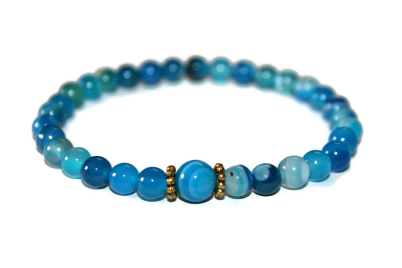 Women's Dainty Blue Agate Beaded Bracelet | Healing Bracelet | Agate Jewelry | Fashion Jewellery - Zendelux Rose