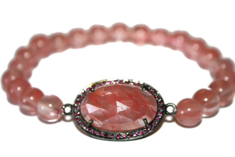 Women's Ruby Bracelet | Strawberry Quartz Bracelet | Pave Ruby Crystals Healing Jewelry