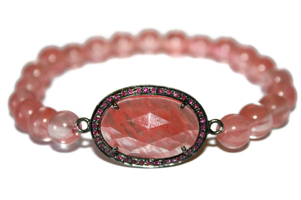 Women's Ruby Bracelet | Strawberry Quartz Bracelet | Pave Ruby Crystals Healing Jewelry - Zendelux Rose