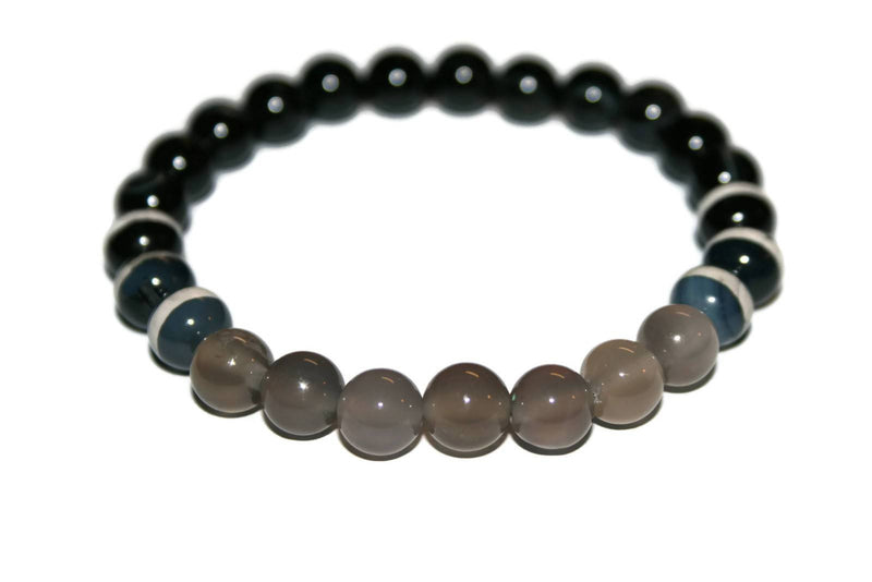 Men's Dzi Agate Beaded Bracelet | Healing Bracelets for Men | Yoga Jewelry | Fashion Bracelet - Zendelux Rose