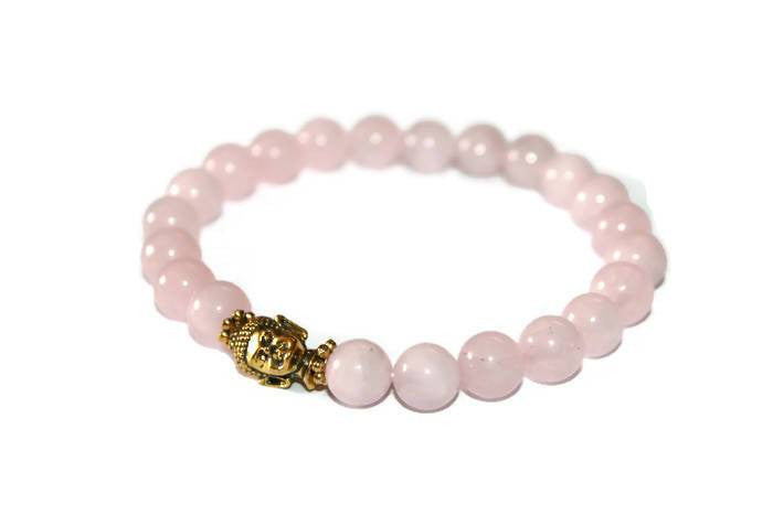 Women's Rose Quartz Buddha Head Beaded Bracelet | Healing Crystals for Women | Gift for Her | Gemstone Bracelet - Zendelux Rose