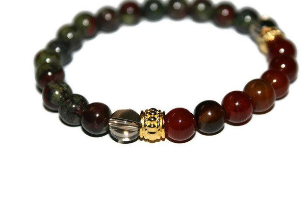 Men's Carnelian, Smokey Quartz-Bloodstone Beaded Bracelet | Carnelian Jewelry | Bloodstone Jewelry for Men - Zendelux Rose