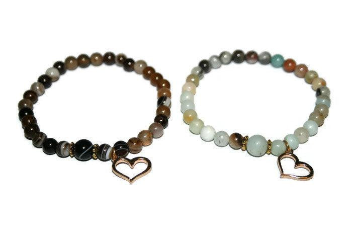Women's Couple Natural Stone Beaded Bracelet Set | Friendship Bracelets | Amazonite & Agate Bracelet - Zendelux Rose