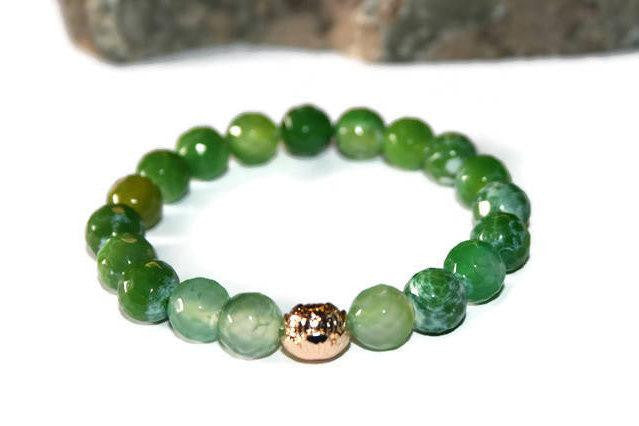 Women's Luxury Green Lace Agate Lotus Beaded Bracelet for Women | Stretch Bracelet | Gift for Her - Zendelux Rose