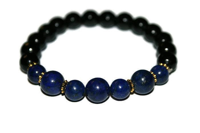 Men's Lapis Lazuli-Onyx Beaded Bracelet 10mm | Blue Bead Bracelet | Bracelets for Men - Zendelux Rose
