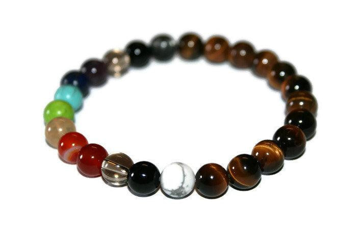 Natural Stone 7 Chakra Beaded Bracelet | Good Luck | Healing Crystal Bracelet | Chakra Jewelry - Zendelux Rose