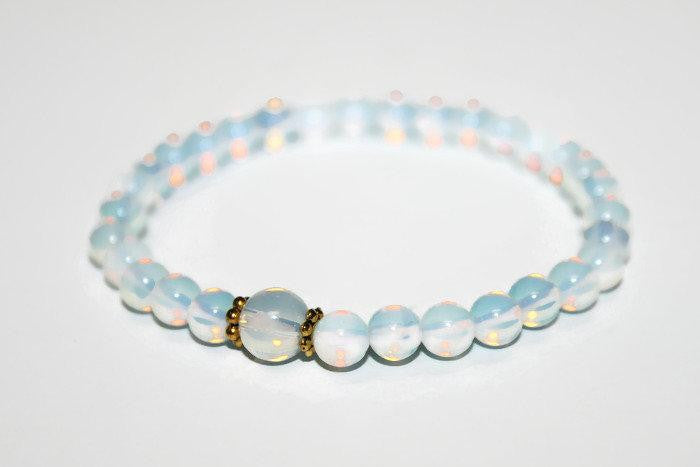 Small Beaded Opalite Bracelet 6mm | Healing Bracelet | Yoga Jewelry | Opalite Bracelet - Zendelux Rose
