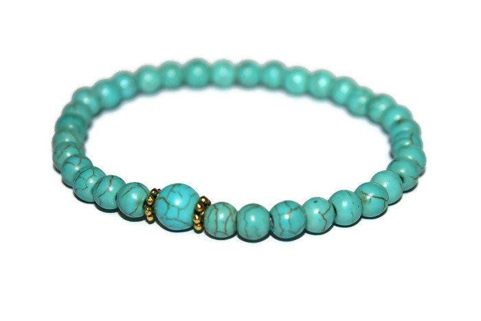 Turquoise Beaded Bracelet 6mm | Small Blue Bead Bracelet | Stretch Bracelet | Gift Ideas - Zendelux Rose