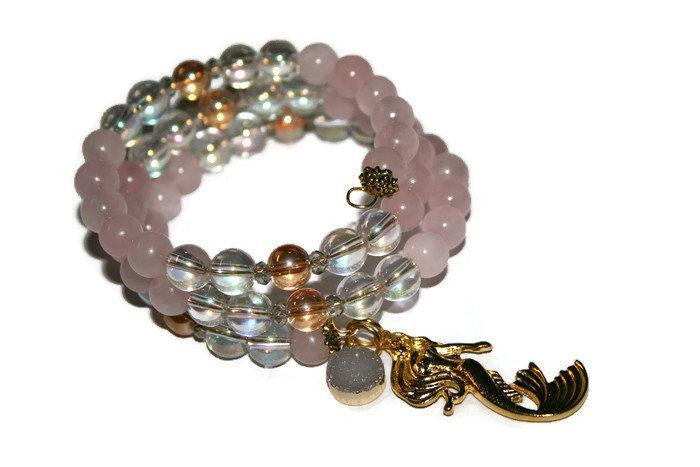 Women's Angel Aura-Rose Quartz Mermaid Beaded Bracelet | Pink Stone Memory Wire Bracelet | Handmade Bracelet - Zendelux Rose