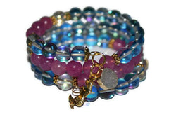 Women's Aqua Aura Quartz Mermaid Beaded Bracelet | Handmade Blue Memory Wire Bracelet - Zendelux Rose