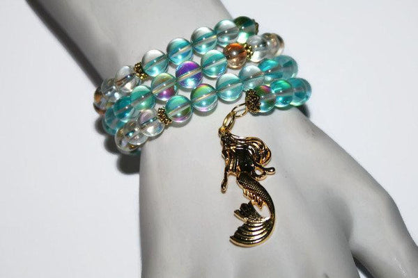 Women's Handmade Aqua-Angel Aura Quartz Mermaid Beaded Bracelet | Memory Wire Bracelet | Wrap Bracelet for Women - Zendelux Rose