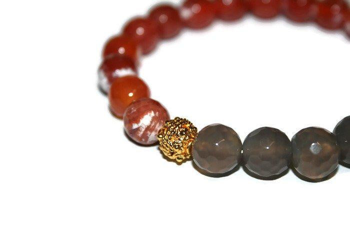 Men's Red-Gray Agate Beaded Bracelet 10mm | Healing Crystals Bracelet | Mens Bracelet | Yoga Jewelry - Zendelux Rose